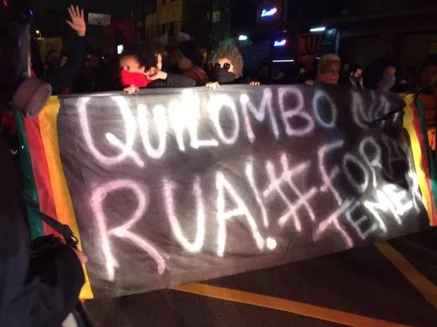 Manifestantes durante caminhada pela Faria Lima (Foto: Glauco Araújo/G1)