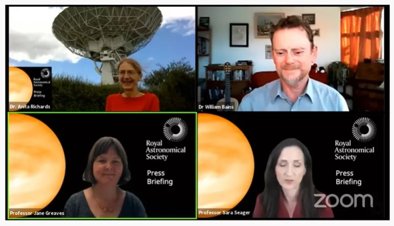 Cientistas anunciam em coletiva que encontraram em Vênus gás fosfina, gás existente na atmosfera da Terra. — Foto: Reprodução