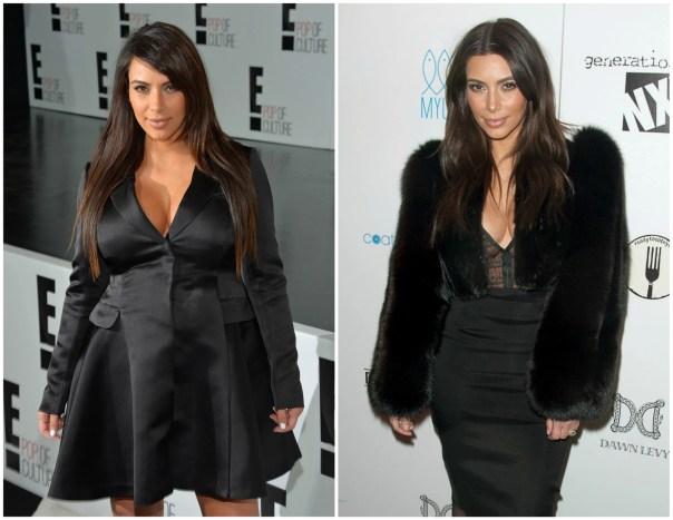 Kim Kardashian em abril de 2013 (à esq.) e em fevereiro de 2014. A socialite deu à luz a filha North West em 15 de junho de 2013. (Foto: Getty Images)