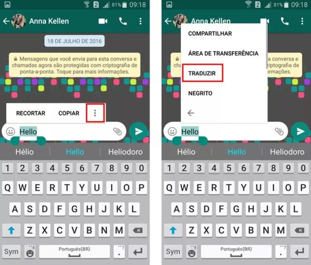 WhatsApp tem recurso para traduzir palavras (Foto: Reprodução/Aline Batista)