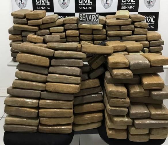 Aproxidamente 300 kg de maconha foi encontrado próximo a cidade de Miranda do Norte, segundo a Polícia (Foto: Divulgação/Polícia Civil)