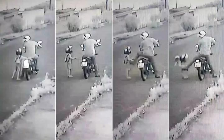Sequência de imagens mostra padrasto agredindo menino de 4 anos em Sertãozinho, SP — Foto: Reprodução