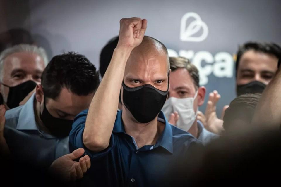 Bruno Covas (PSDB) comemora vitória no 2º turno na capital paulista em novembro de 2020. — Foto: Fábio Tito/G1
