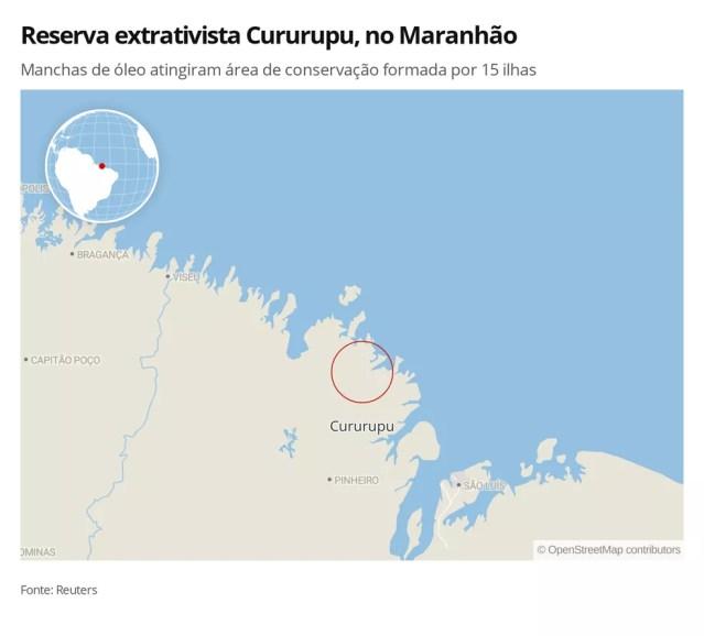 Área da reserva extrativista Cururupu, no litoral do Maranhão, foi atingida por manchas de óleo que poluem as praias do Nordeste. — Foto: Elida Oliveira/G1