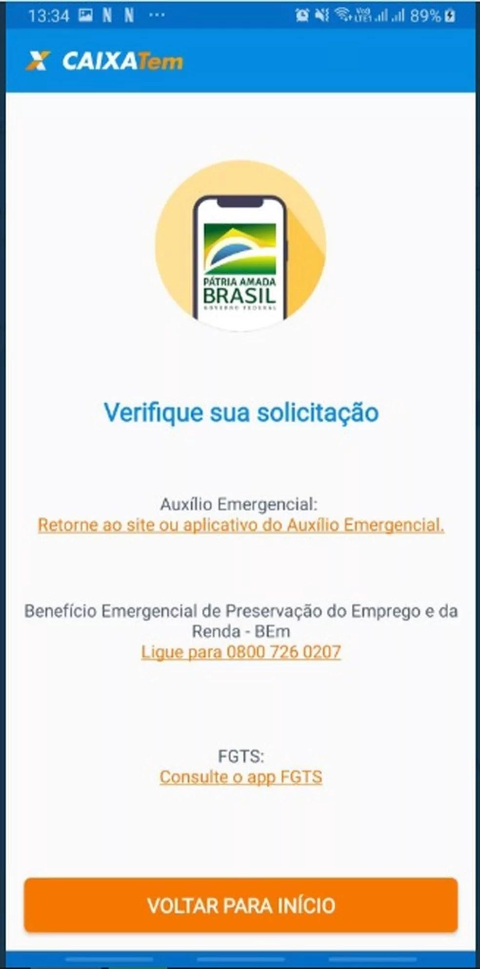 Julianni Oliveira, de 20 anos, mostra mensagem recebida no app Caixa Tem ao tentar mexer no dinheiro do FGTS — Foto: Arquivo pessoal