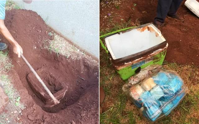 Cerca de R$ 107 mil estavam enterrados no quintal da casa em Igarapava, SP — Foto: Polícia Militar/Divulgação