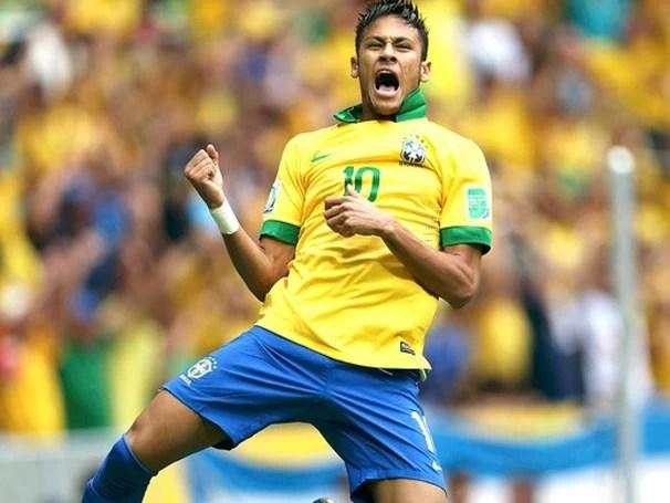 Neymar marcou o primeiro gol da Copa das Confederações (Foto: Reuters/Reprodução: Globoesporte.com)