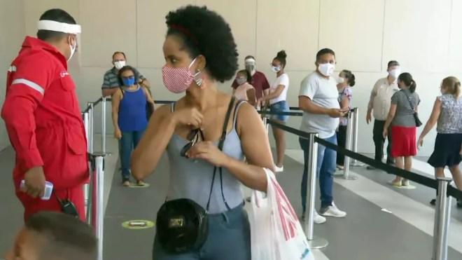 Reabertura dos shoppings em João Pessoa foi feita no dia 13 de julho — Foto: Reprodução/TV Cabo Branco