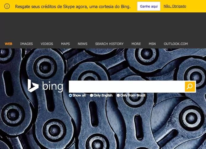Bing oferece 60 minutos grátis no Skype para usuários Microsoft (Foto: Reprodução/Bing)