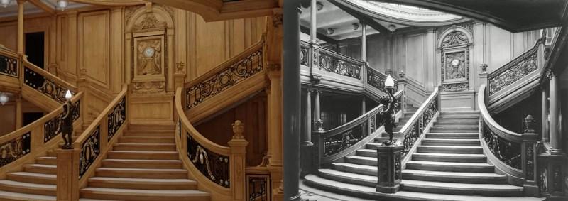 A grande escadaria, usada por membros da primeira classe (FOTO: DIVULGAÇÃO)