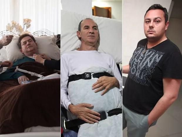 Carlos, Edson e Gabriel sofreram acidentes no Parque dos Laranjais (Foto: Marcelo Brandt e Fabio Tito/G1)