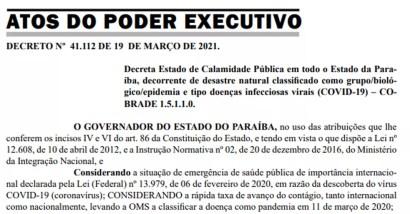 Governo da Paraíba renova decreto de calamidade por causa da pandemia — Foto: Reprodução/Diário Oficial do Estado