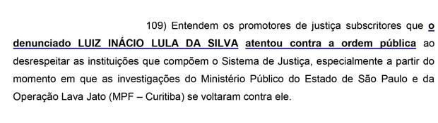 Trecho da denúncia do Ministério Público de São Paulo que pede a prisão de Luiz Inácio Lula da Silva (Foto: Reprodução)
