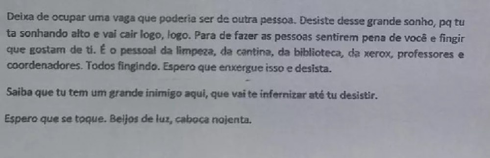 Autor da carta pede ainda que a menina desista de se formar na Ufac  (Foto: Arquivo pessoal )