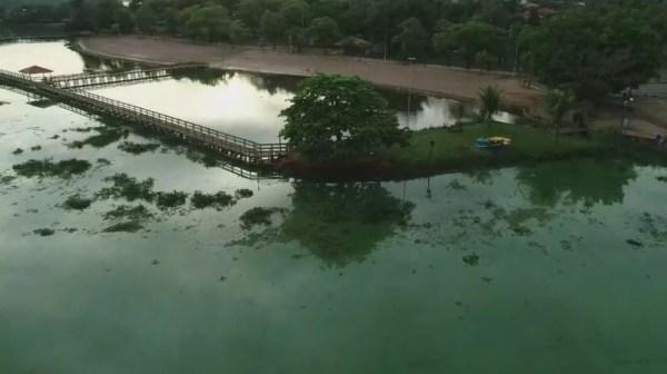 Coloração verde no Ri Tietê é causada pela proliferação das algas que, por sua vez, se multiplicam devido a poluição — Foto: TV TEM / Reprodução