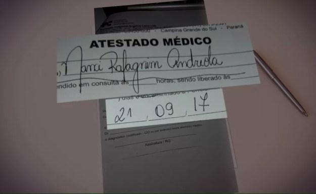 Atestado médico é do dia 21 de setembro de 2017, um dia antes do festival de música no Rio de Janeiro (Foto: Reprodução/RPC)