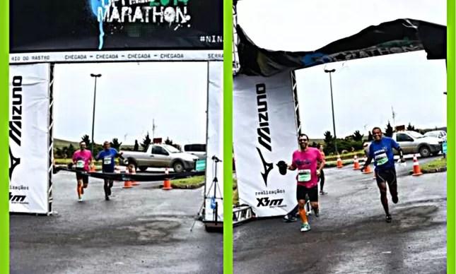 O momento do estouro do banner da linha de chegada da Mizuno Uphill Marathon