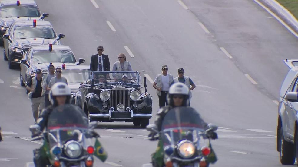 Ensaio da posse presidencial do presidente eleito Jair Bolsonaro (PSL) na Esplanada dos Ministério  — Foto: TV Globo/Reprodução