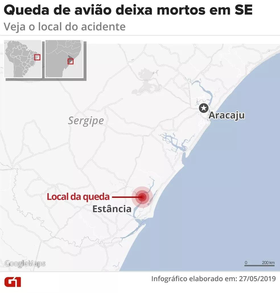 Mapa mostra local da queda do avião — Foto: Arte G1/Rodrigo Sanches