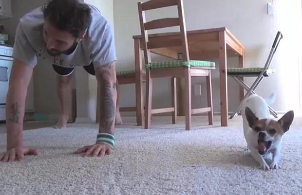 'Pancho' virou sensação ao ser filmado fazendo ioga ao lado do dono na Itália (Foto: Reprodução/YouTube/Nic Bello)