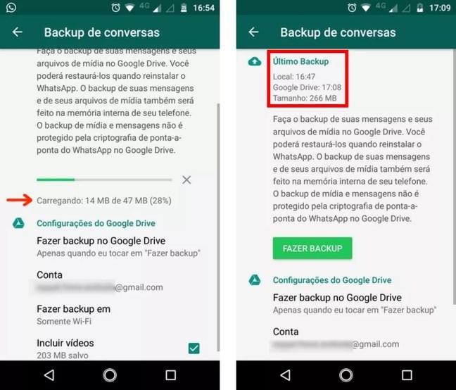 Confira a conclusão do backup de conversas do WhatsApp no Google Drive — Foto: Reprodução/Raquel Freire