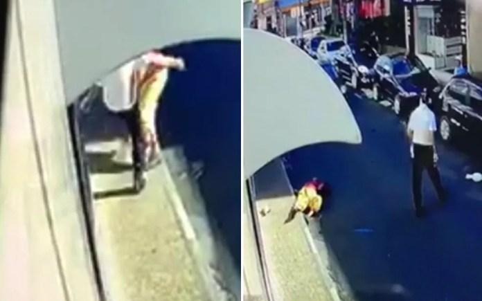 Imagens mostram agressão de motorista a palhaço de rua em Mogi Guaçu (Foto: Arte/G1)