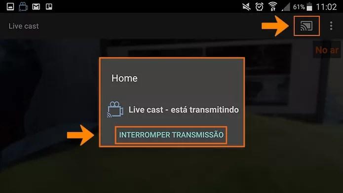 Interrompa a transmissão ao vivo do LiveCast quando preferir pelo app (Foto: Reprodução/Barbara Mannara)