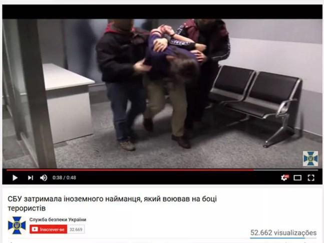 Vídeo do Serviço de Segurança da Ucrânia mostra a prisão de Rafael Lusvarghi  — Foto: Reprodução/Youtube/Serviço de Segurança da Ucrânia