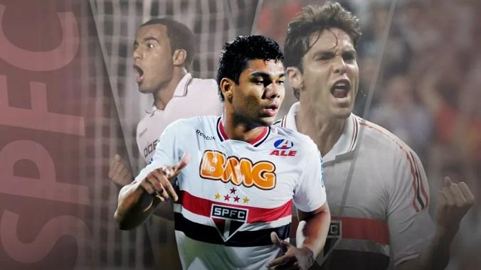 Casemiro, Kaká e Lucas foram um dos principais revelados pelo São Paulo no Século — Foto: Editoria de arte