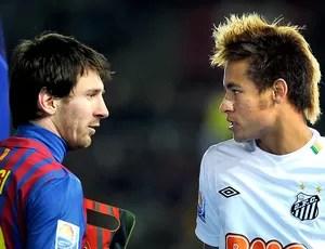 Messi Neymar jogo Barcelona Santos (Foto: AFP)
