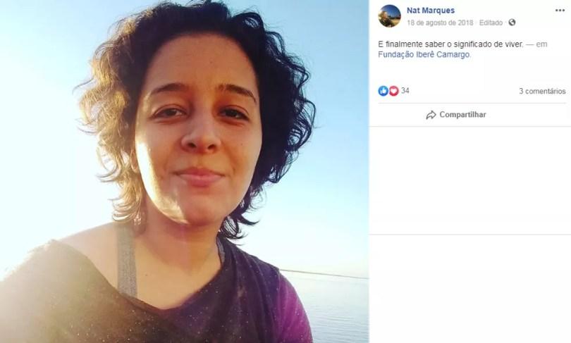 Nathana Stephany Marques Gay, de 23 anos, foi atingida quando voltava para casa acompanhada de duas amigas, na Rua República. — Foto: Reprodução/Facebook