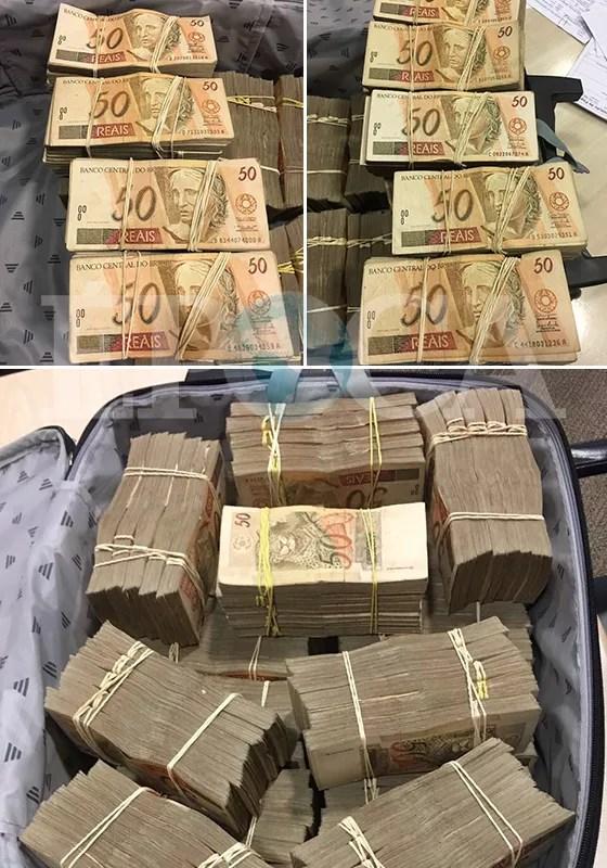 Fotos da mala de dinheiro entregue ao emissário do senador Aécio Neves em 12 de abril (Foto: reprodução)