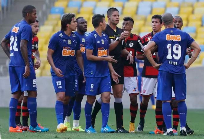 Jogadores do Cruzeiro reclamam (Foto: Marcelo Regua / Light Press)