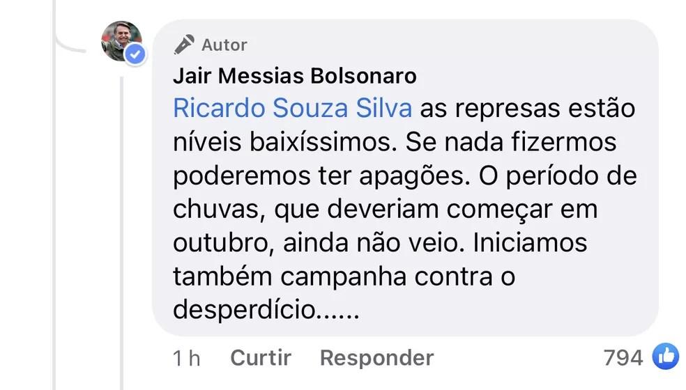 Bolsonaro rebate internauta sobre aumento da conta de luz — Foto: Reprodução/Facebook