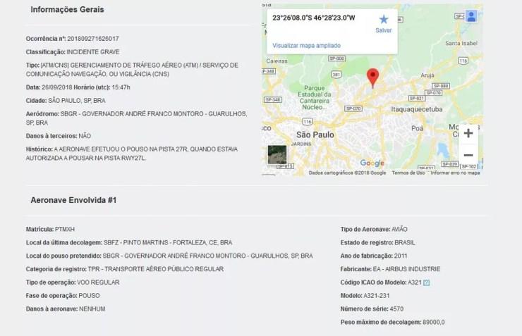 Descrição do caso no site do Cenipa — Foto: Reprodução/G1