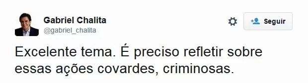 O secretário municipal de Educação de São Paulo, Gabriel Chalita, considerou o tema da redação do Enem 2015 'excelente' (Foto: Reprodução/Twitter)