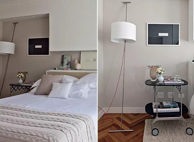 O quarto clean da arquiteta Marília Veiga tem 15 m² e predomínio de linhas retas. O detalhe inusitado fica por conta do carrinho de chá, que faz par com o criado-mudo e dá apoio em um dos lados da cama (Foto: Lufe Gomes e Victor Affaro)
