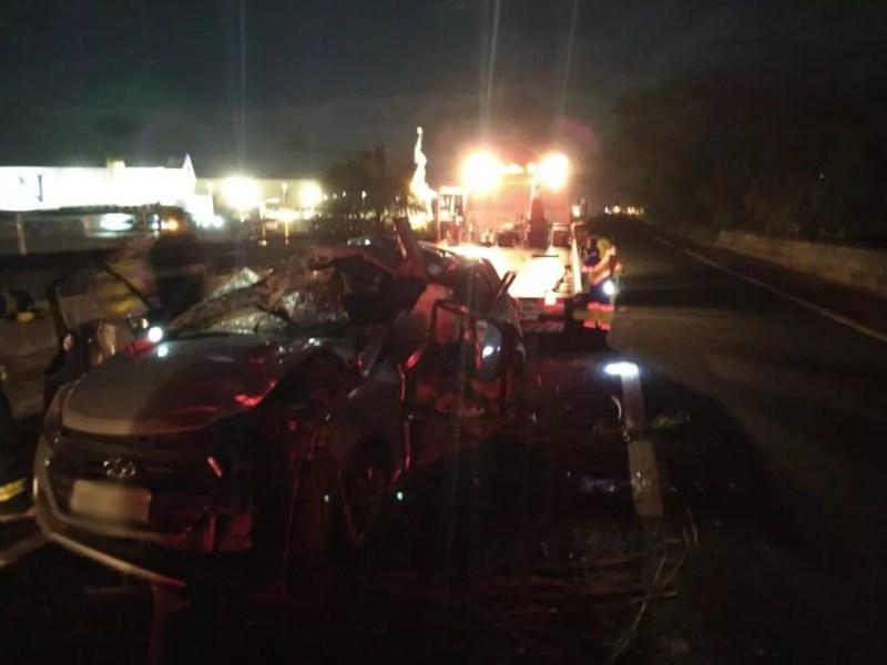 Pista ficou parcialmente interditada após acidente em rodovia de Votuporanga  — Foto: Divulgação/Votunews