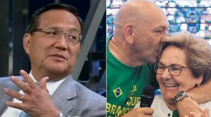 Anthony Wong e Luciano Hang ao lado da mãe, Regina Hang — Foto:  Reprodução/TV Globo; Acervo pessoal