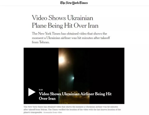 Jornal divulgou vídeo que mostra o que seria o momento em que o voo da Ukrainian International Airlines é atingido por míssil — Foto: Reprodução/New York Times