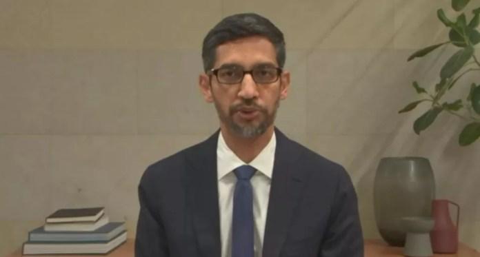 Sundar Pichai, do Google, em audiência do Senado dos EUA nesta quarta-feira (28) — Foto: Reprodução