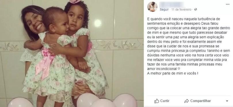 Relato foi publicado no Facebook para as filhas antes da tragédia em Itatiba (Foto: Facebook/Reprodução)