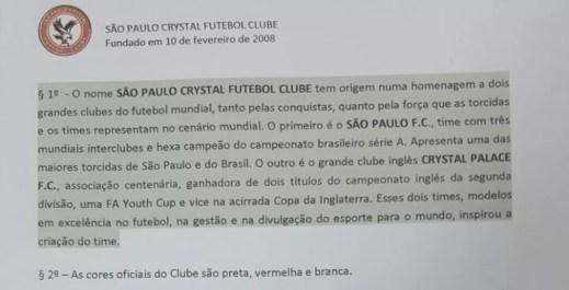 são paulo crystal, estatuto (Foto: Reprodução / São Paulo Crystal)