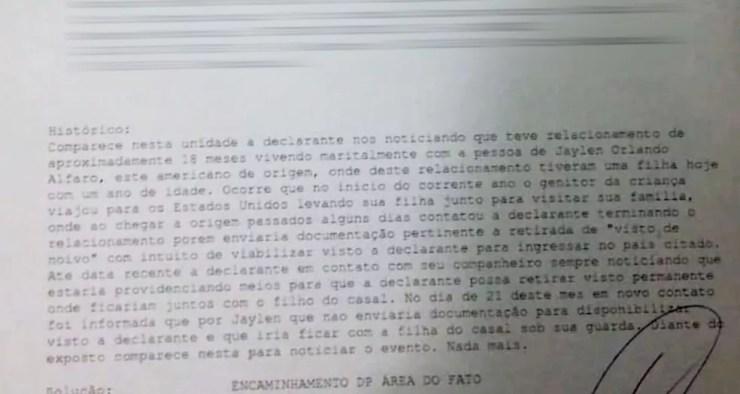Mãe chegou a registrar um boletim de ocorrência do caso (Foto: Reprodução/TV TEM)