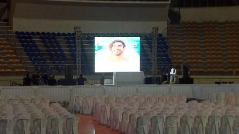 Velório do canto Gabriel Diniz acontece no ginásio Ronaldão, em João Pessoa — Foto: Reprodução/TV Cabo Branco