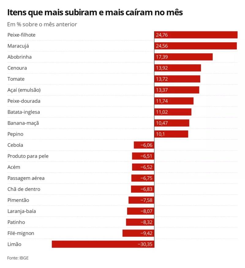 IPCA janeiro - itens — Foto: Economia G1