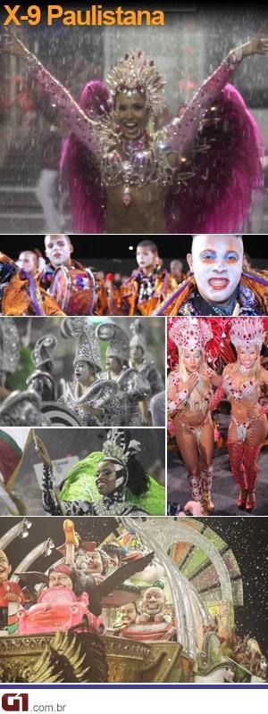 Fotos do desfile da X-9 Paulistana (Foto: Editoria de Arte/G1)