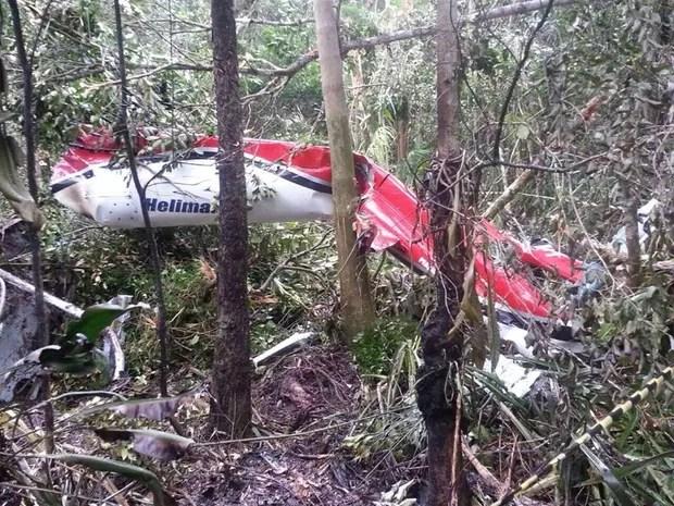 Helicóptero caiu em uma área de mata em Bertioga, no litoral de São Paulo (Foto: Divulgação / Polícia Militar)