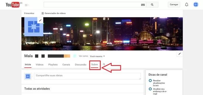 """Clique em """"Sobre"""" para editar as informações do Canal (Foto: Reprodução/Juliana Pixinine)"""