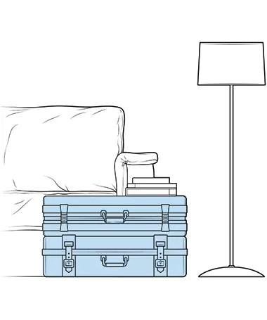 As malas antigas podem virar mesa de centro e armazenar objetos (Foto: Ilustração Evandro Bertol)